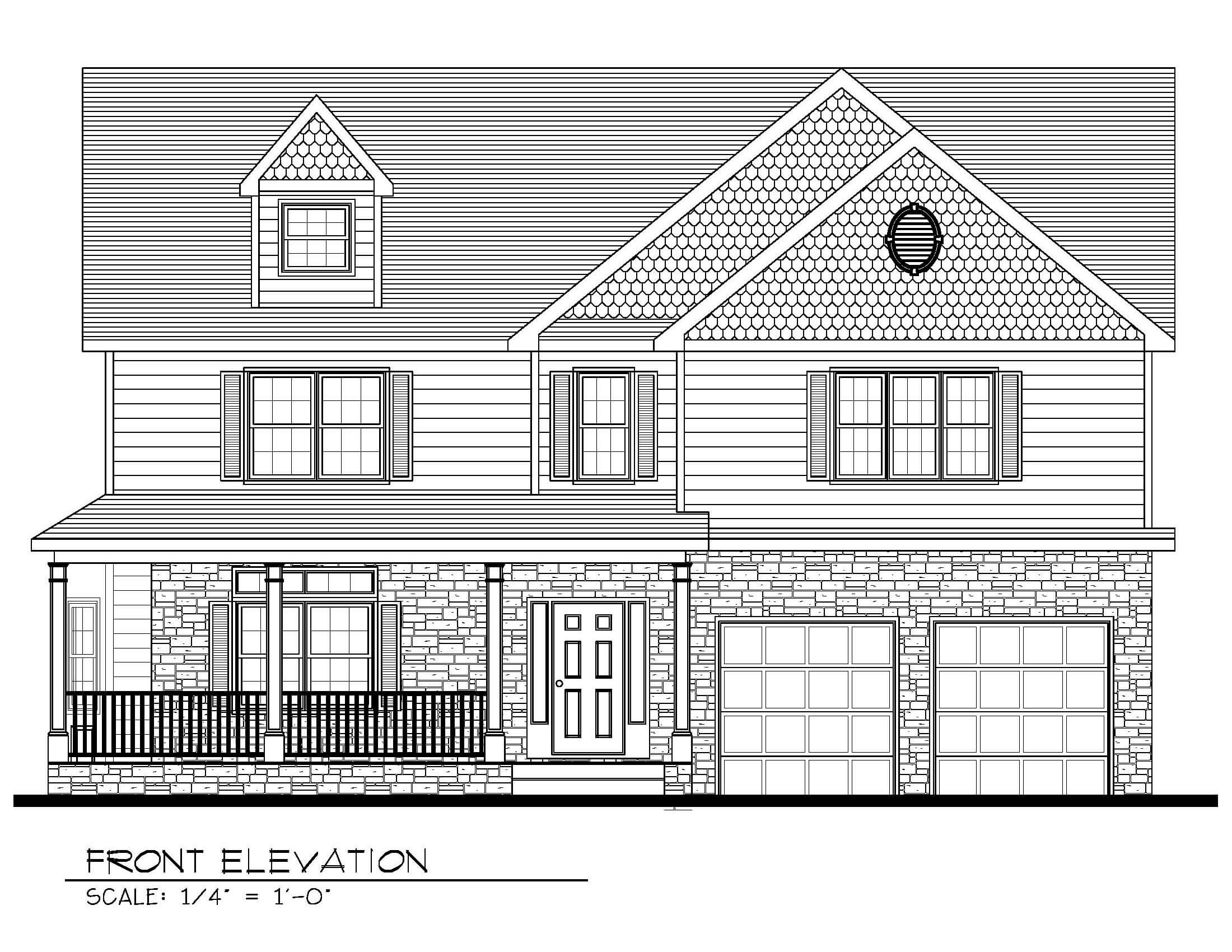 129 Brightwood Front Elevation B&W