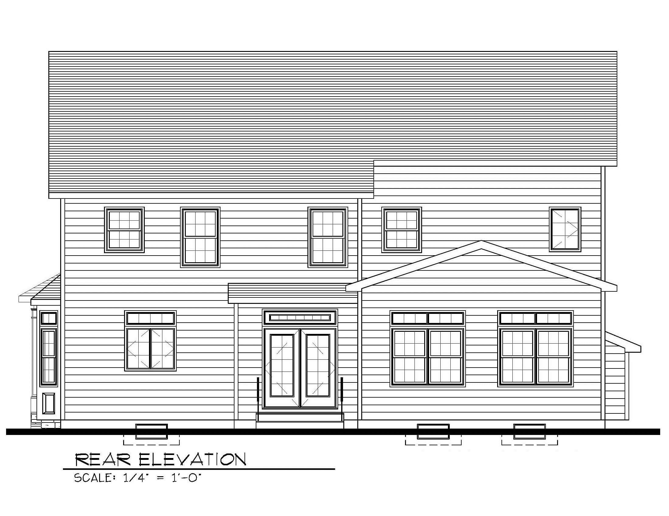 129 Brightwood Rear Elevation B&W