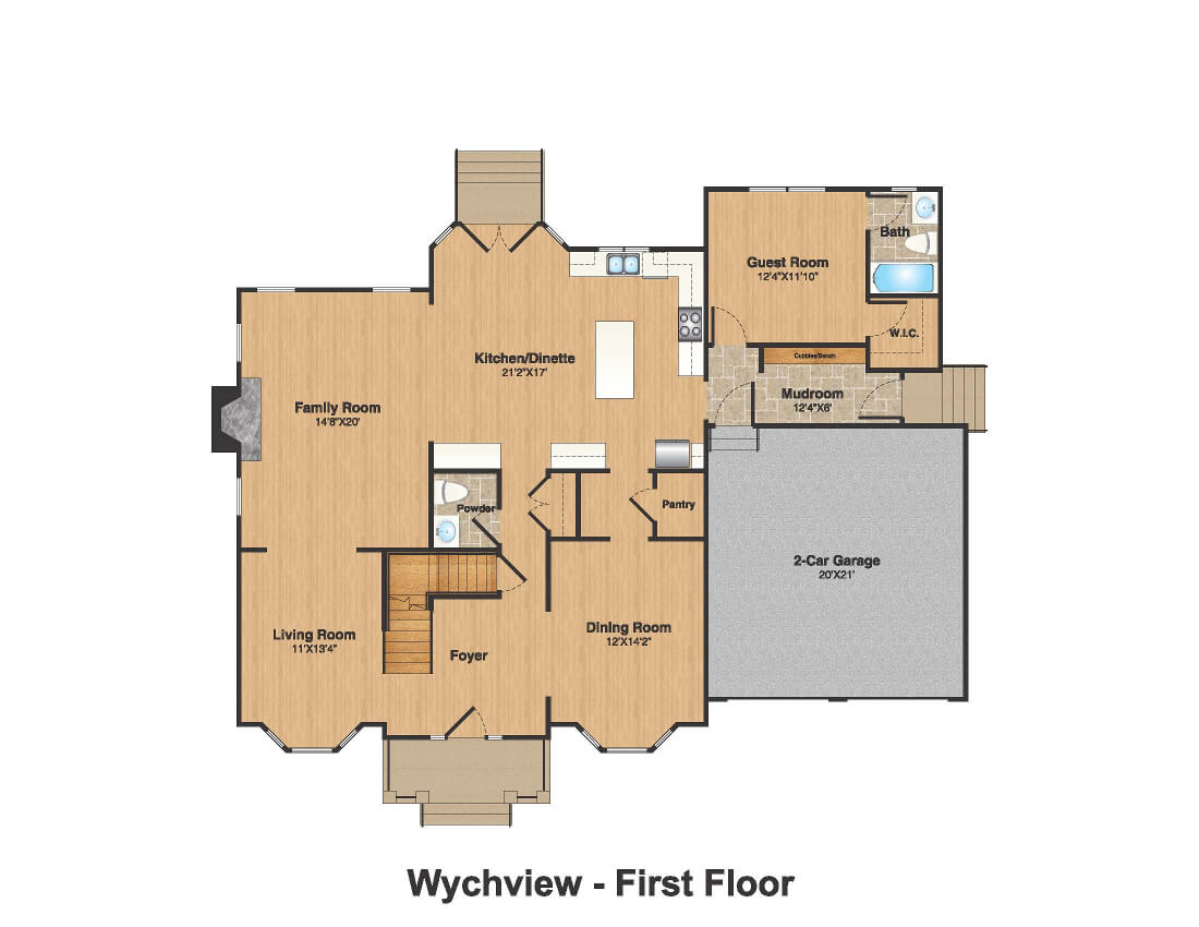 14 Wychview Color 1st Floor Plan