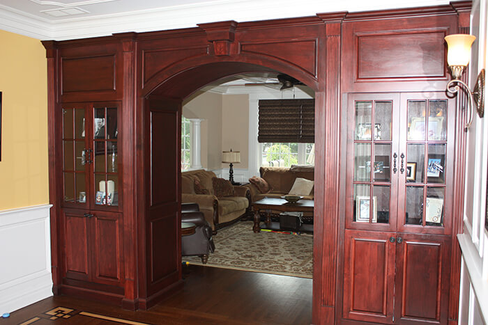 405 Quantuck Living Room Custom Built Ins with Arch
