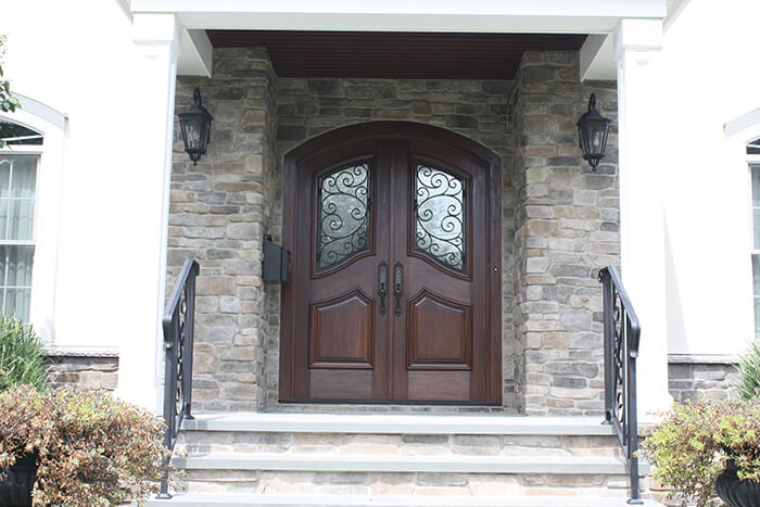 405 Quantuck Mahogany Front Door with Wraught Iron