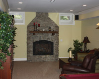 Stone Fireplace with Recycled Timber Mantle