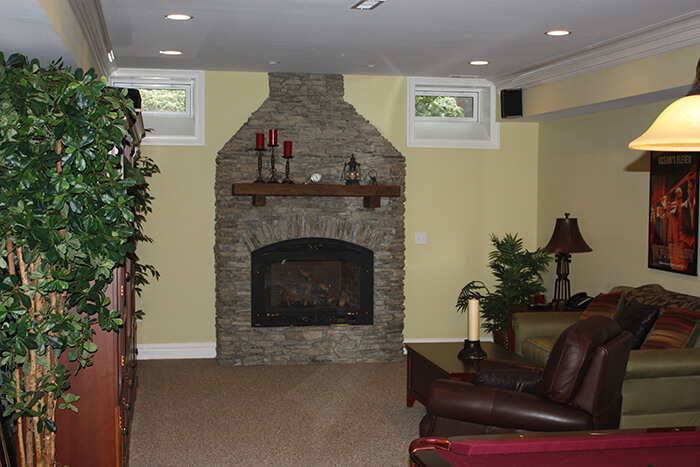 405 Quantuck Stone Fireplace with Recycled Timber Mantle