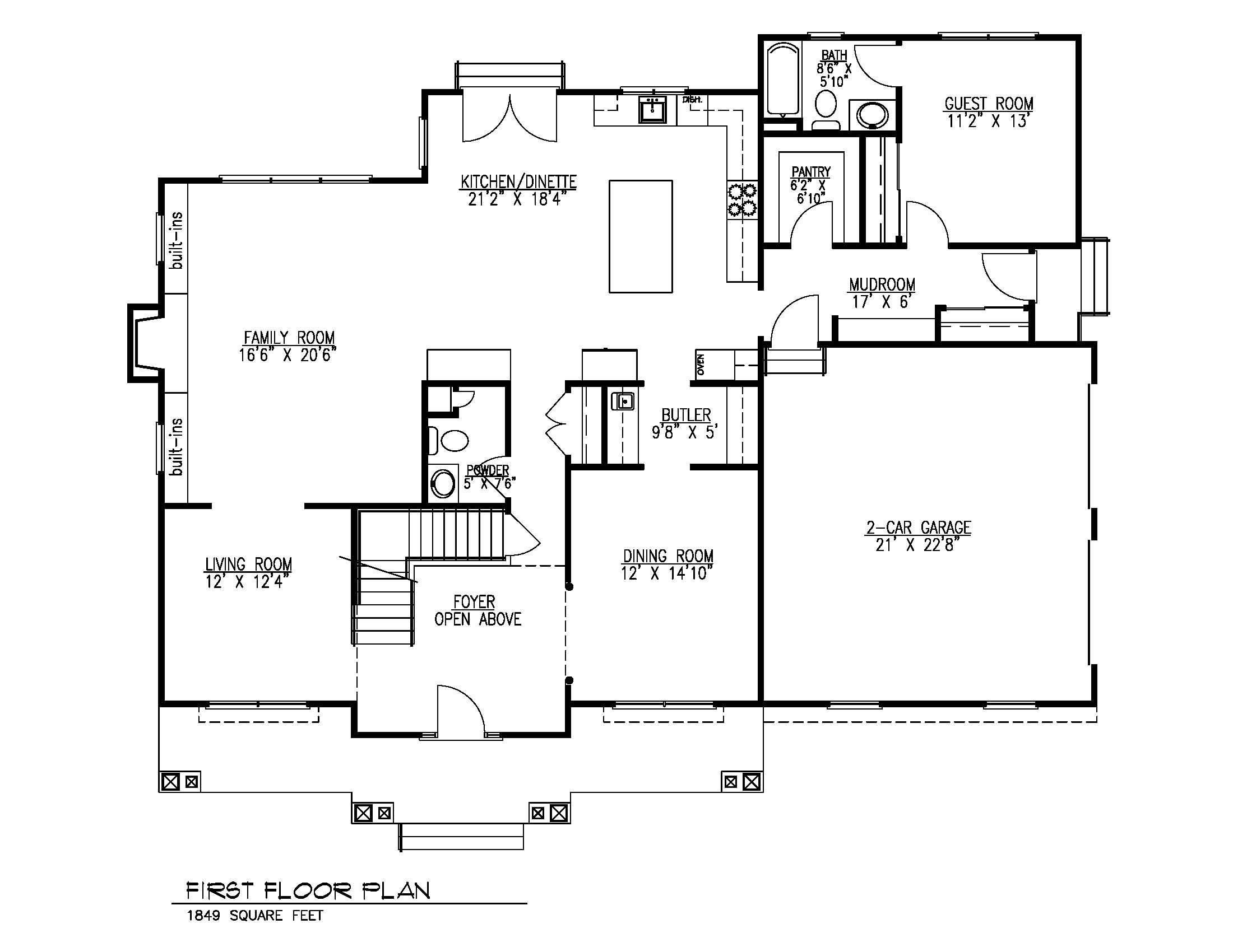 407 Quantuck First Floor Plan B&W