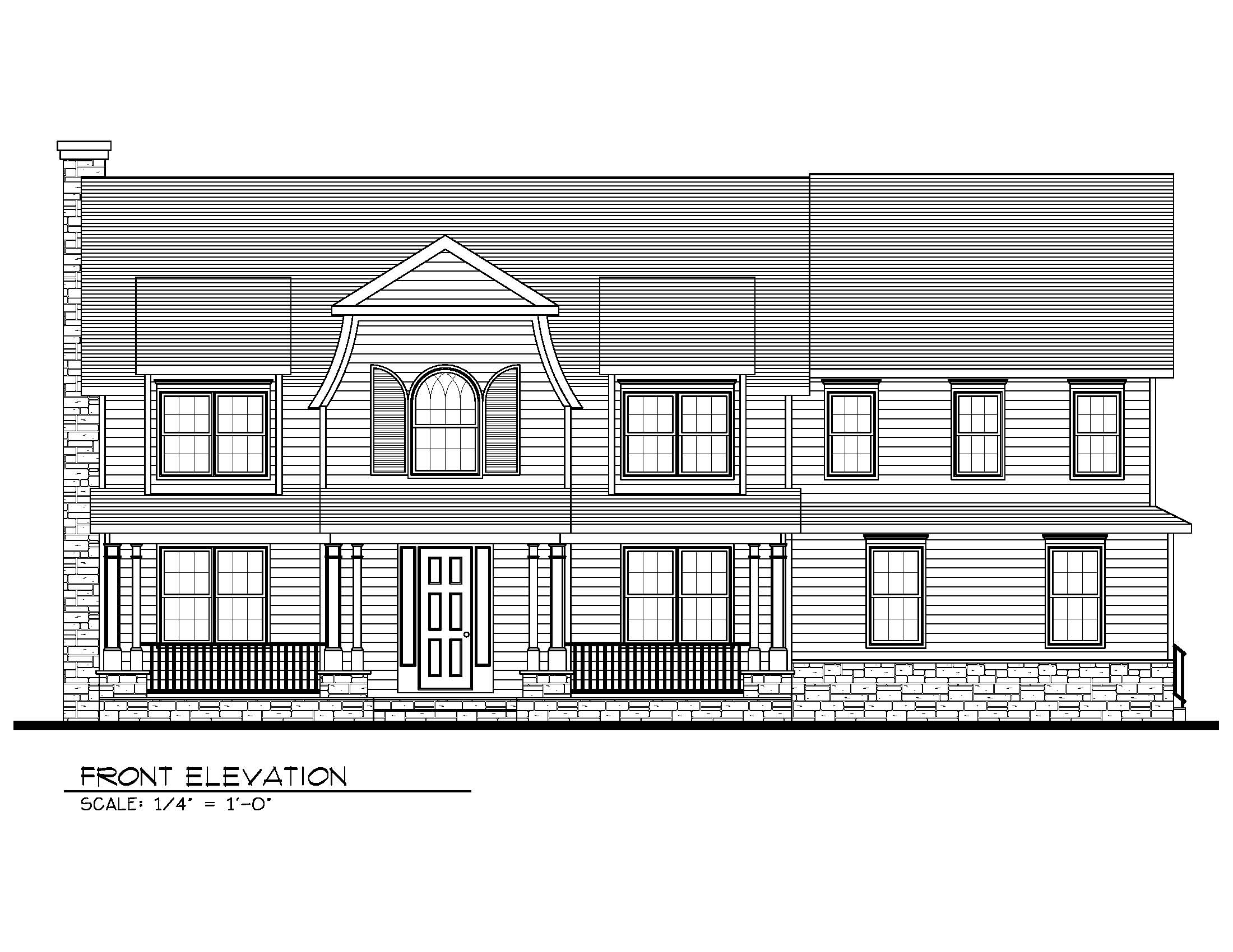 407 Quantuck Front Elevation B&W