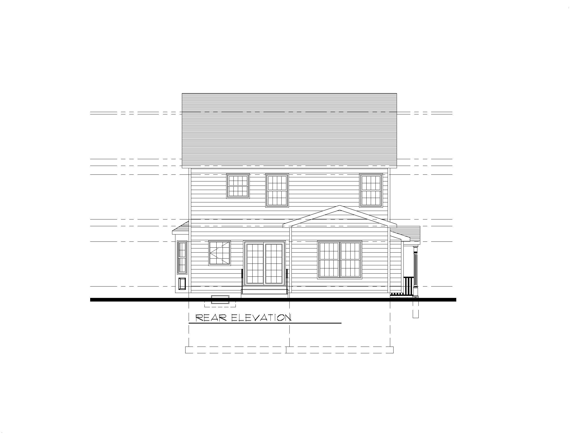 610 Cumberland Rear Elevation B&W