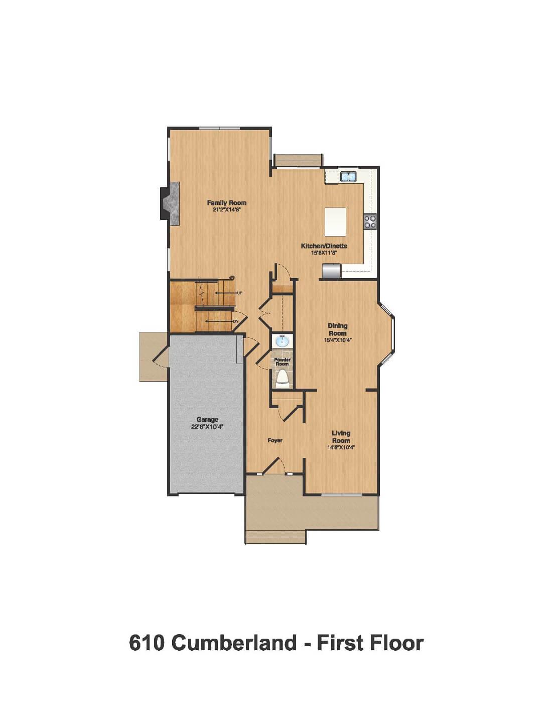 610 Cumberland Floorplan 1st Floor Color