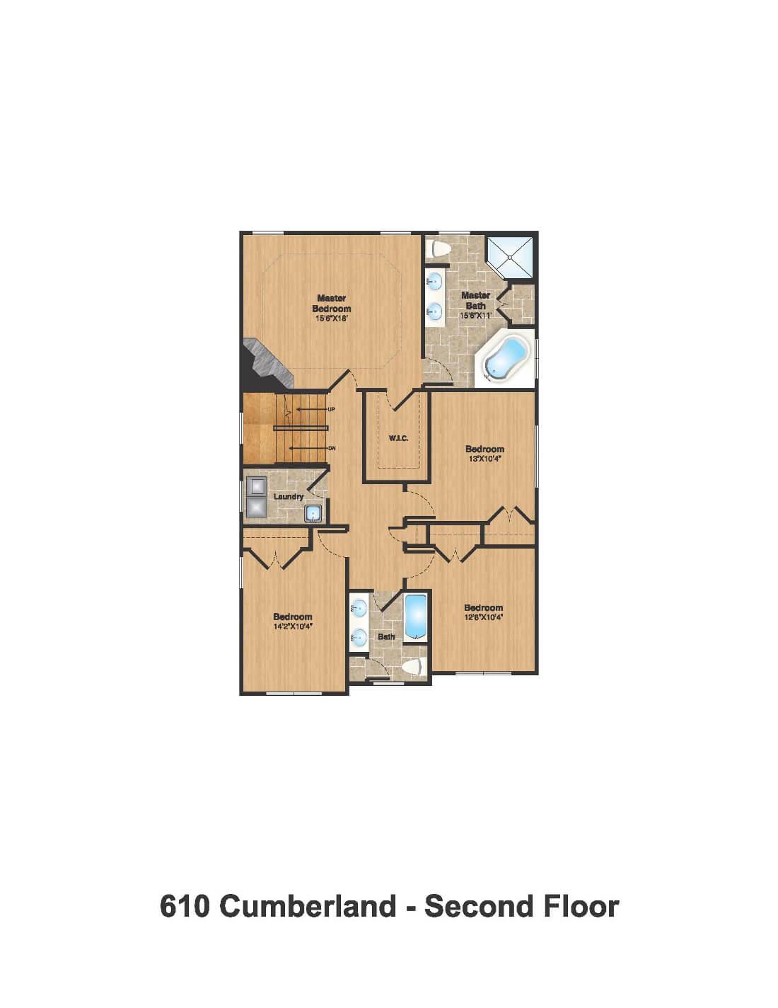 610 Cumberland Floorplan 2nd Floor Color