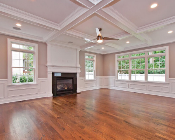 Family Room I with Fireplace and Window Transoms
