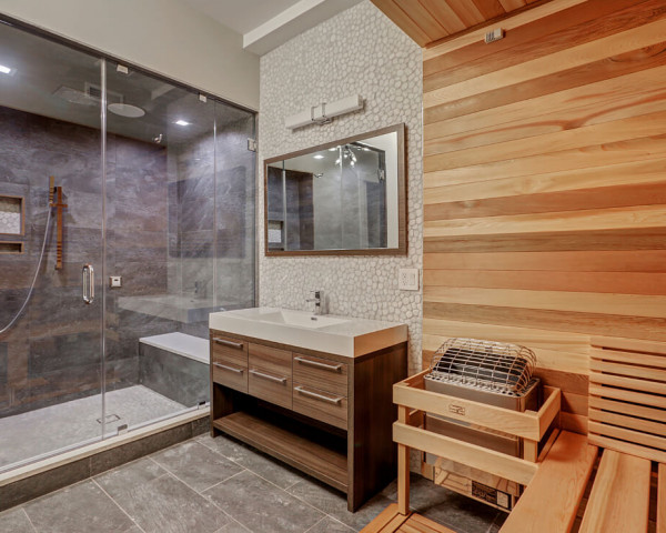 Basement Bathroom With Sauna and Steam Shower