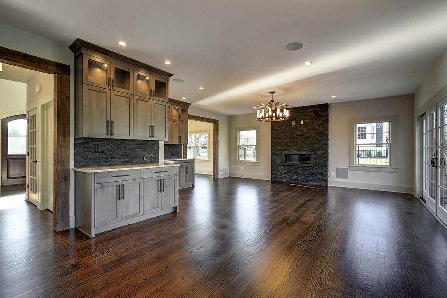 Family room interior of a custom home built by Premier Designs Custom Homes LLC.