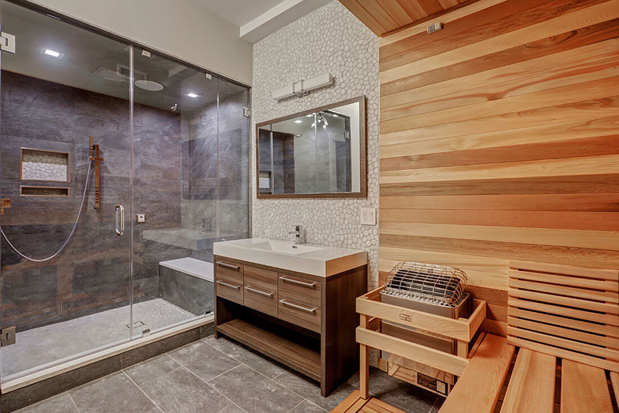 Bathroom with a sauna and steam shower.